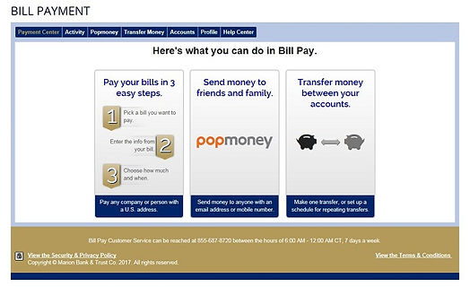 Online Banking bill payment page with options to pay bills, use pop money or make transfers to external accous