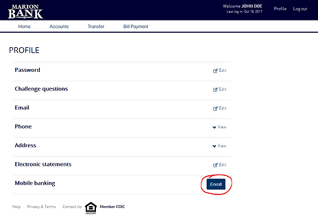 Onlin Banking profile page showing enroll button for Mobile Banking
