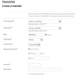 Online Banking transfers page showing account selection, date and frequency