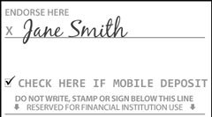 Back of check endorsement showing signature and the Check Here if Mobile Deposit checkbox ticked
