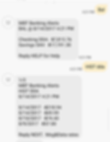 Phone screen showing balance and transaction texts from SMS Banking