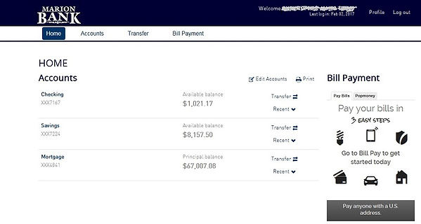 Online Banking home page showing account balances