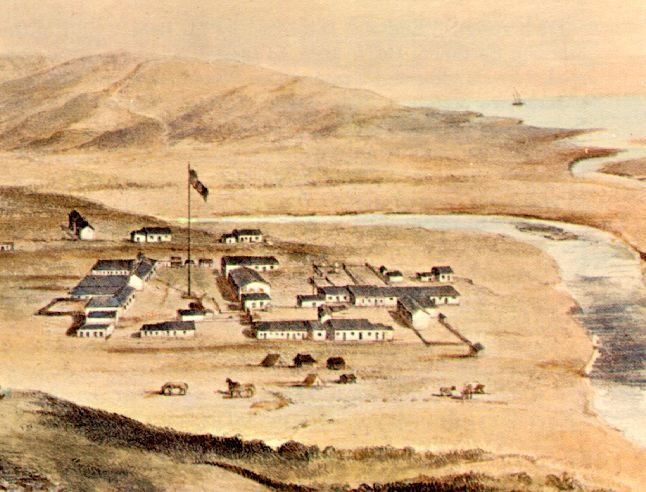 Aerial view of Old Town San Diego in 1849