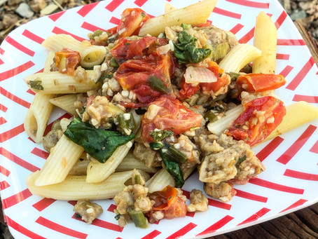 Vegan Pasta with Spinach & Tomato Skillet