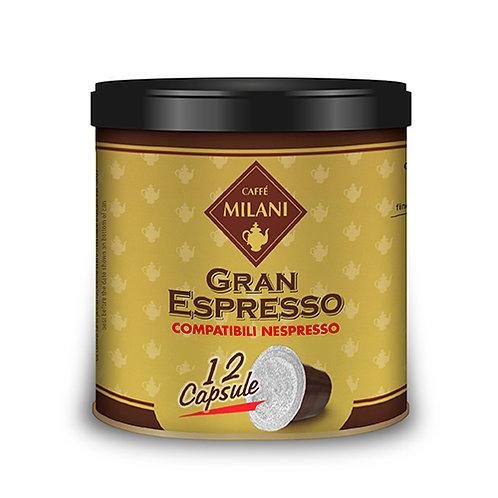 """CAFFE' MILANI """"GRAN ESPRESSO"""" 12 NESPRESSO COMPATIBLES CAPSULES TIN"""