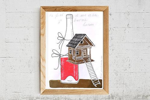 """Illustration """" Au pied de mon arbre, je buvais heureux """" - Reproduction A4"""