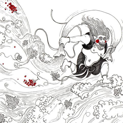 Fujin, dieu du vent Japonais