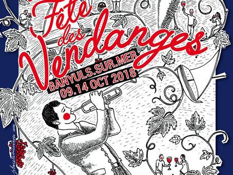 Affiche Fête des Vendanges 2018 & exposition au Domaine Madeloc