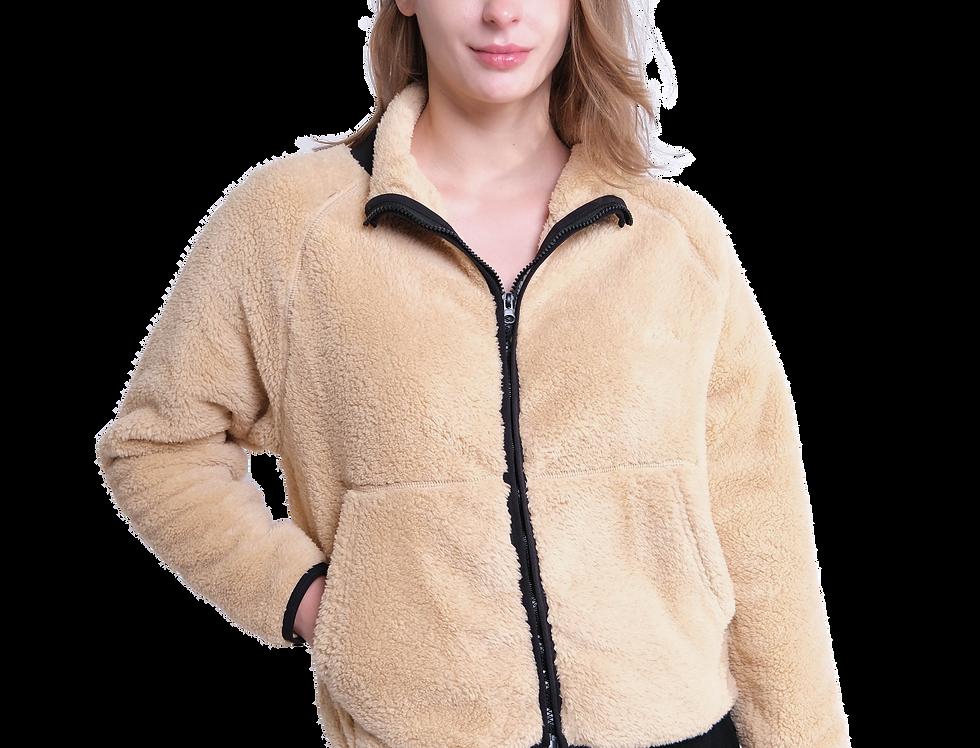 Contrasting Front Pocket Sherpa Jacket