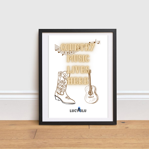 Country Music Lives Here Wall Art