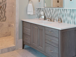 stained bathroom vanity cabinet
