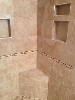 corner shower bench in tile shower