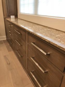 bathroom vanity stained