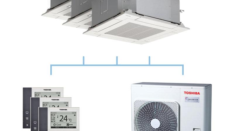 TOSHIBA climatisation tri split cassette 4 voies gaz R32 3,5 + 4,5 + 4,5kW + RAS