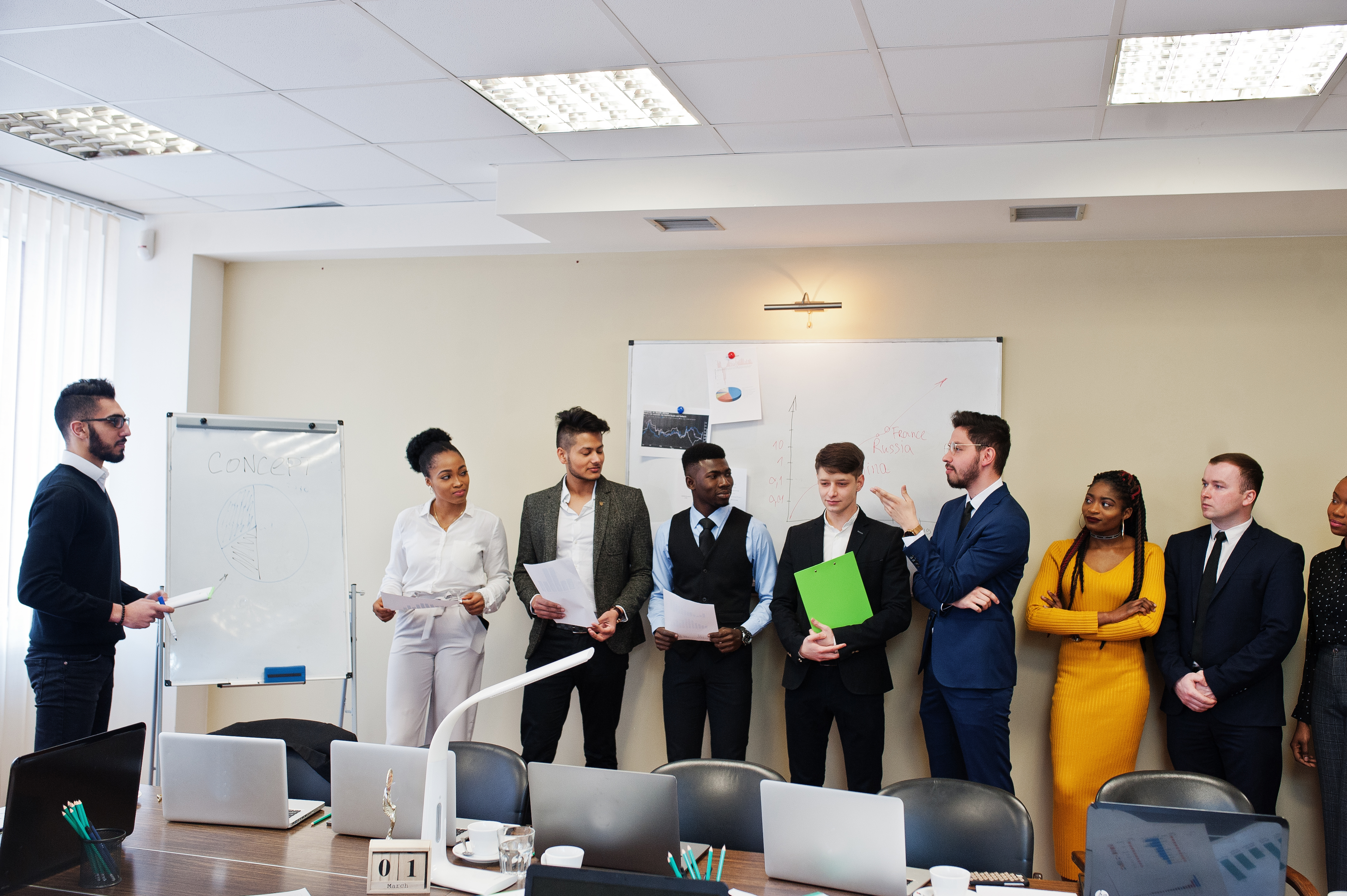 Mixed race business coach presenting rep