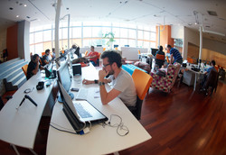 startup business people group working ev