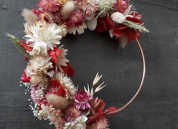 Rosa, Couronne fleurs séchées sur cercle de cuivre, décoration murale, de porte