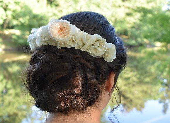 Iris double peigne de mariée en fleurs stabilisées