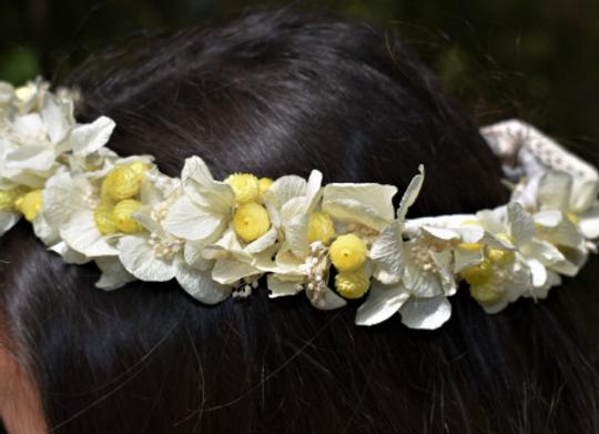 Couronne de mariage Faustine en fleurs séchées et éternelles