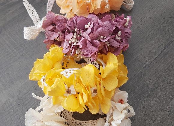 Bracelets Célia colorés en hortensias stabilisés
