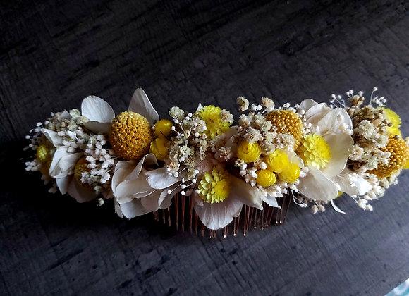 Hélios peigne long de mariage en fleurs séchées