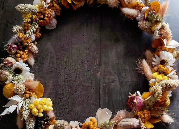 Couronne Murale Safran en fleurs séchées
