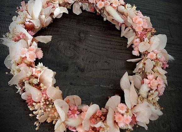 Rosie couronne murale en fleurs séchées et stabilisées