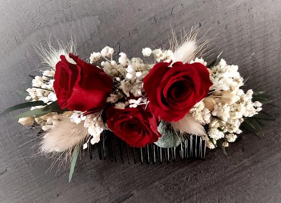 Astrid peigne de mariage en fleurs stabilisées et séchées