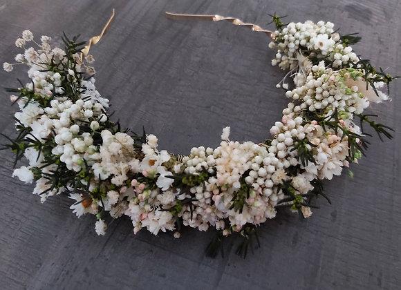 Annabelle, diadème floral en fleurs stabilisées et séchées
