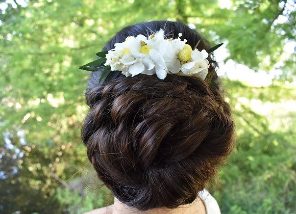 Peigne Olivia en hortensia stabilisé et fleurs séchées