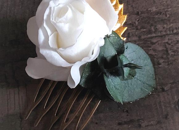 Mini peigne de mariage blanc et doré