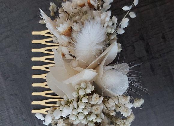 Peigne Joséphine en fleurs séchées et stabilisées