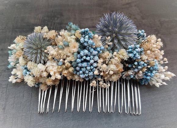 Peigne Célestine en fleurs séchées