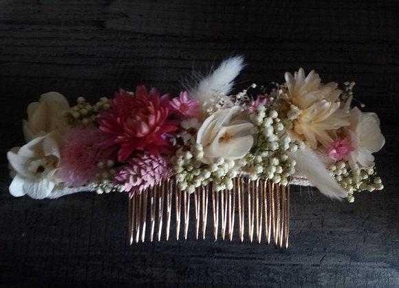 Léa peigne long en fleurs séchées et stabilisées