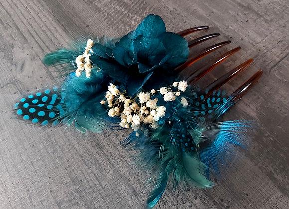 Bluebird peigne en plumes naturelles et fleurs stabilisées
