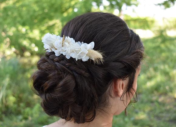 Adèle double peigne de mariage en fleurs séchées et stabilisées