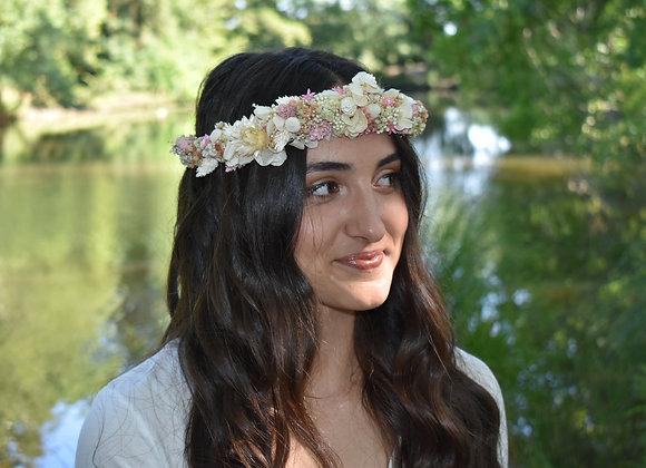 Léa couronne de mariage en fleurs naturelles séchées et stabilisées