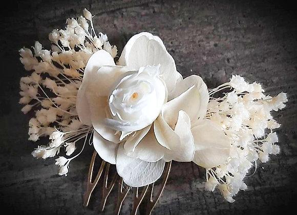 mini peigne fleuri blanc de mariage