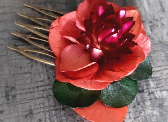 Mini peigne en fleurs séchées et stabilisées