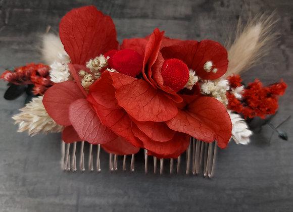 Peigne fleuri Garance, fleurs séchées et stabilisées