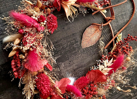 Rouge-gorge couronne murale en fleurs séchées et stabilisées