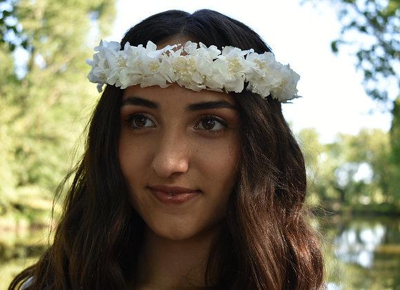 Couronne bohème de mariée Alba en fleurs stabilisées