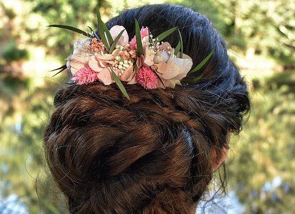 Peigne de mariage Lisa en fleurs séchées et stabilisées