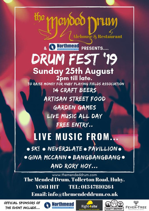 Rory DJ's at Huby's Drum Fest this Sunday