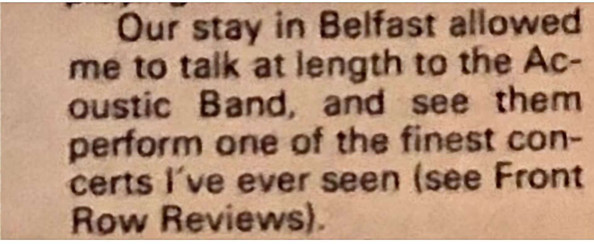 Written by Tony Stewart the NME sadly the review never made the paper!