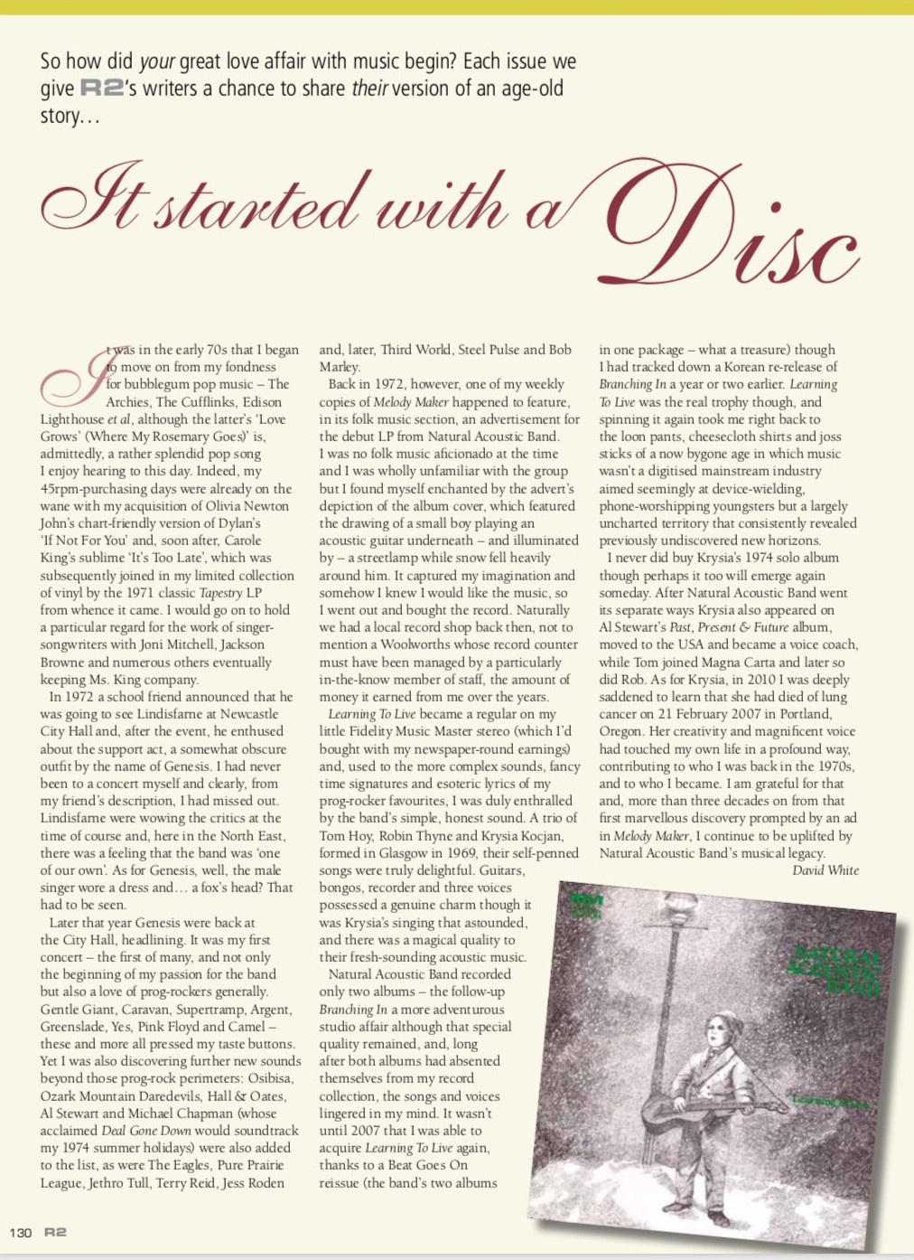 many thanks to David White assistant editor RNR magazine for sending this article