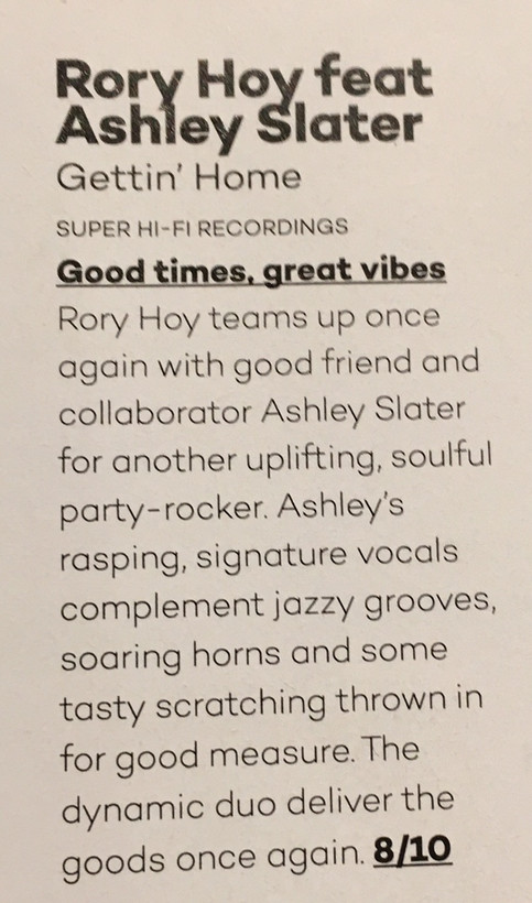 """Gettin' Home"" feat. Ashley Slater gets reviewed in Mixmag!"