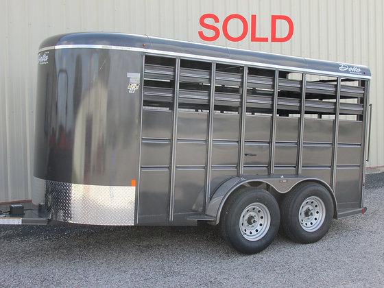 Delta 500 14' Storm Grey livestock trailer