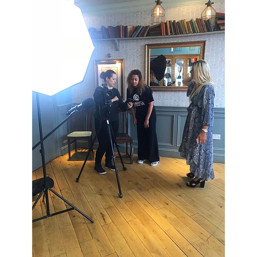Dance Stables' Cara with Natalie Gee, videographer and Andrea from Sophia's Diary on shoot.