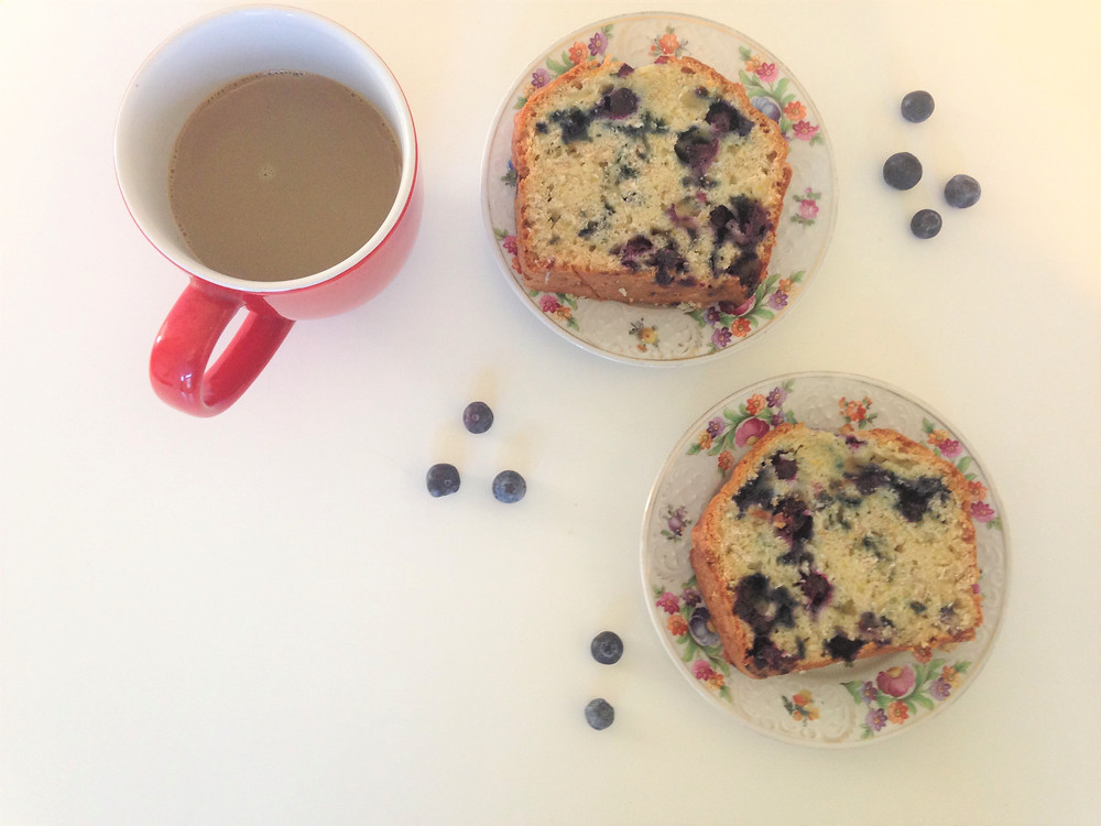 Lemon Blueberry Oat Loaf with Coffee